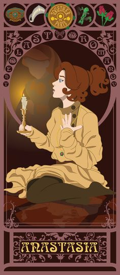Anastasia may not be Disney, but I love her as much as Disney! Beautiful Art Nouveau Posters Of And Movie Heroines - Artist Kishokahime created a beautiful series of posters that reimagines our favorite movie heroines. Disney Pixar, Disney E Dreamworks, Disney Animation, Disney Art, Princesa Anastasia, Disney Anastasia, Anastasia Movie, Disney Love, Disney Magic