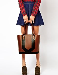 Image 3 ofASOS Leather Panel Shopper Bag