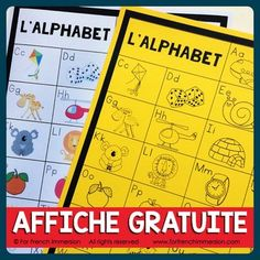 FREE French Alphabet Chart: students can keep the B&W version in their writing folders and the teacher can also print the color version to be used as a classroom poster! A French teacher's must-have tool :) French Teacher, Teaching French, Teaching Spanish, Teaching Reading, French Lessons, Spanish Lessons, French Alphabet, Writing Folders, Alphabet Charts