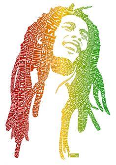 Typographic portrait of Bob Marley