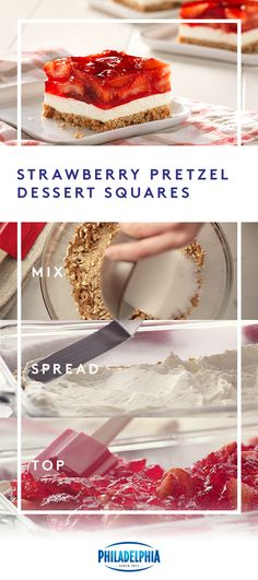 Strawberry Pretzel Dessert Squares Strawberries, pretzels, JELL-O and creamy, delicious Philadelphia Cream Cheese unite to make what's sure to become a of July family favorite. Try using frozen strawberries to make prep time even easier Pretzel Desserts, Köstliche Desserts, Dessert Recipes, Jello Recipes, Recipies, Dessert Simple, Strawberry Pretzel, Strawberry Recipes, Tasty
