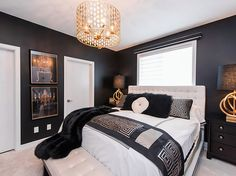 Before you write off black as too moody or dark, check out our 75 black bedroom ideas. Easily balance black color schemes for a dramatic and stylish look. Black Bedroom Decor, Black Bedroom Furniture, Bedroom Green, Black Decor, Black Bedrooms, Modern Bedrooms, King Bedroom Sets, Small Room Bedroom, Trendy Bedroom