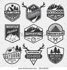 Set of monochrome outdoor camping adventure and mountain badge logo, emblem logo, label design - stock vector