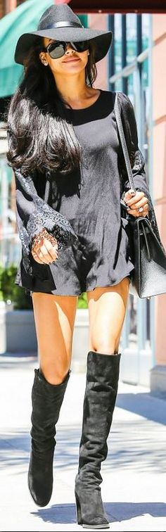 Naya Rivera in For Love & Lemons black long sleeve lace dress, Hermes handbag, Topshop hat, and Stuart Weitzman over the knee suede boots