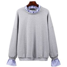 Gray 3xl Round Collar Spliced Long Sleeved Casual Shirt featuring polyvore, women's fashion, clothing, tops, t-shirts, long sleeve tops, gray long sleeve shirt, rounded collar shirt, grey long sleeve shirt and t shirts