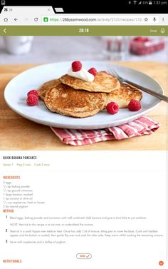 Banana pancakes Clean Recipes, Cooking Recipes, Healthy Recipes, Healthy Eats, 28 By Sam Wood, Good Food, Yummy Food, Banana Pancakes, Healthy Baking