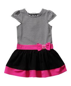 Loving this Youngland Black & Fuchsia Stripe Cap-Sleeve Dress - Infant on #zulily! #zulilyfinds
