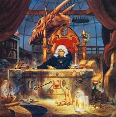 DragonLance - Raistlin in his laboratory in the Tower of High Sorcery.