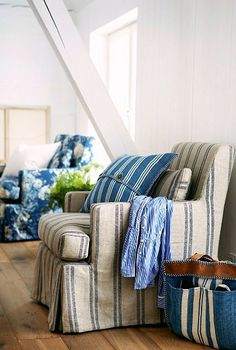 Cottage ● Blue Striped & Floral Accent Chairs