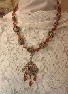 1820 Amber and Gold Beaded Necklace with Detachable by CEOriginals
