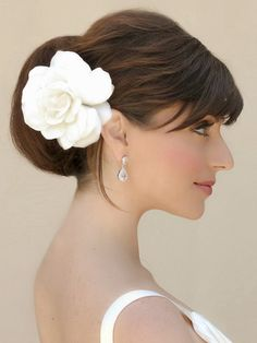 Gardenia real feel bridal hair flower by Hair Comes the Bride.  - Bridal Hair Flowers - www.HairComestheBride.com