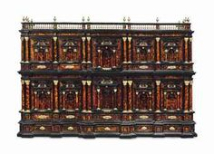 A SOUTH ITALIAN ORMOLU-MOUNTED TORTOISESHELL AND EBONY ARCHITECTURAL CABINET NAPLES, LATE 17TH CENTURY 34 in. (86.5 cm.) high; 50 ¾ in. (129 cm.) wide; 2