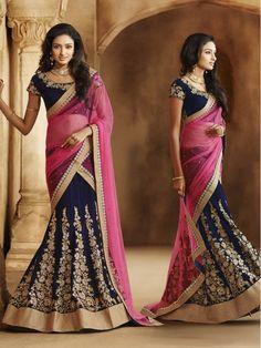 Pink with Navy Blue Lehenga Saree Nakkashi Designer Saree  #LehengaSaree #Lehenga #Saree #Sari #IndianEthnic #PartywearSaree #WeddingWearSaree