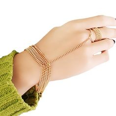 Fashionable Women's Layered Link Design Bracelet With Ring