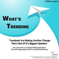 "What's Trending? ""Facebook Are Making Another Change That's One of it's Biggest Updates"" http://www.morefm.co.nz/Facebook-Are-Making-Another-Change-Thats-One-Of-Its-Biggest-Updates/tabid/92/articleID/33062/Default.aspx  For more details visit: www.9dzine.com  For Inquiries: +91 9833219322 #9dzine #facebook #SMMnewsupdates #socialmediamarketing"