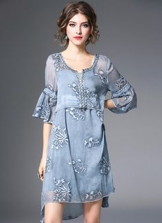 Polyester Solid 1027136/1027136 Sleeves Above Knee Casual Dresses (1027136) @ floryday.com