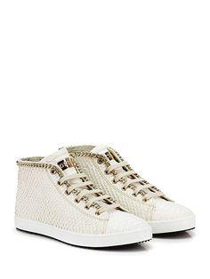 STOKTON - Sneakers - Donna - Sneaker in pelle effetto pitone con zip su lato esterno e catena su profilo. Suola in gomma, tacco 20. - PANNA