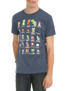 Navy heather slim-fit T-shirt from Nintendo's Super Mario Bros. with large design of 8-Bit characters from the classic video game on front.