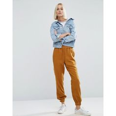 ASOS Washed Track Pant with Poppers ($27) ❤ liked on Polyvore featuring activewear, activewear pants, yellow, tall track pants, tall activewear, track pants and asos