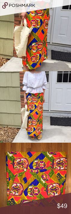 "Vivid 1970s quilted maxi skirt colorful XS I have had my eye out for one of these for myself and of course this one is tiny. No size information but 27"" true waist, 41"" max hips, length 38.5"". Hidden side zip and button closure. There is a healthy 3.25"" hem  in case you needed to let it out. No fabric tag but it's clearly acrylic quilted fabric with a dry clean or handwashable tag. Vintage Skirts Maxi"