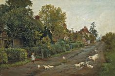 attributed to Helen Allingham  'A sow and her piglets outside a row of cottages with a small child looking on' 19th century watercolour