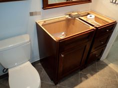 New vanity waiting for the granite people to come out to template