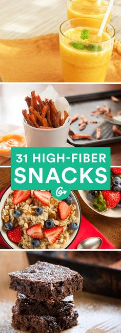 31 High-Fiber Snacks You Need to Add to Your Diet - High fiber diet - Kalorienarme Rezepte High Fiber Snacks, High Fiber Low Carb, High Fiber Breakfast, High Fiber Dinner, High Fiber Diet Plan, High Fibre Desserts, Healthy Recipes, Healthy Options, Sweet Recipes