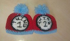 Cat in the Hat Thing 1 Thing 2 Crochet Hats by crochetcraziehand