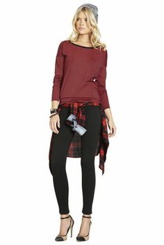 Wrap this bcbgeneration plaid shirt around your waist for a cute holiday look!