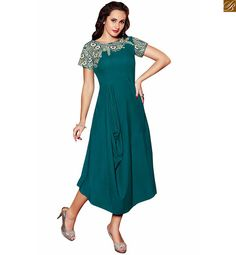 BREATH-TAKING PURE LINEN PAKISTANI DESIGNER LONG KURTIS PATTERN OF NEW STYLE OF PLATING ON SMALL PART OF WAIST PORTION,  BEIGE & BLUE  BROAD AND HEAVY FLORAL EMBROIDERY  AT NECK LINE & SLEEVES OF SEA GREEN KURTI