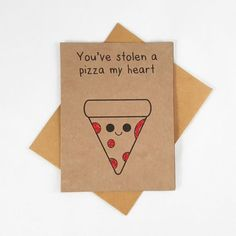 Funny Pizza Card Funny Greeting Card Food Card Pun by papercute