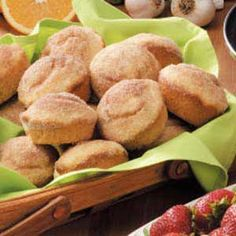 Cinnamon Muffins Recipe -This muffins, with a dash of nutmeg in the batter, are seasoned to please. My husband grew up enjoying these tender, yummy muffins that his mother made on special weekend morning.—Katherine McVey, Raleigh, North Carolina