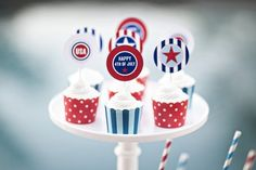 4th of July cupcake supplies red-white-blue