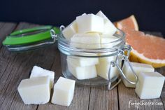 Poofy Cheeks: Exfoliating Grapefruit Sugar Scrub Cube Recipe