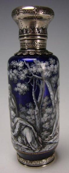 Antique French Limoges Enamel Scent Perfume Bottle by cristina