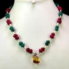 (SKU No. 239ct) 239ct Natural Multi Color Designer Beads Necklace Cabochon with Silver Beads