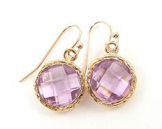 Lavender Rose Gold Drop Earrings Pale Purple Light Amethyst Alexandrite Faceted Earrings Simple Modern Dainty Jewelry by BeautifulByCharlene on Etsy https://www.etsy.com/listing/207601176/lavender-rose-gold-drop-earrings-pale