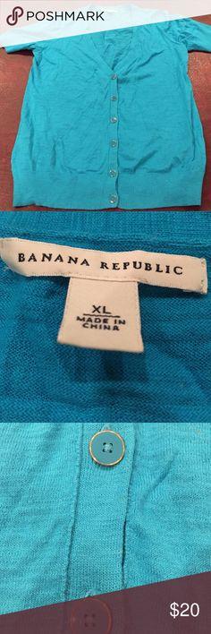 Banana Republic V short-sleeve turquoise cardigan Really cute cardigan worn once Banana Republic Sweaters Cardigans