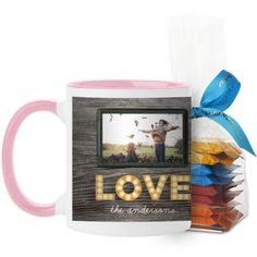 Photo Real Love Mug, Pink, with Ghirardelli Minis, 11 oz, Brown