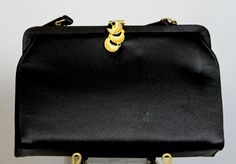 Vintage 1960s Ande Black Satin Evening Bag With Gold And Rhinestone Clasp #Ande #Clutch #LittleBlackDress