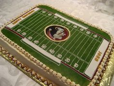 Football Field Birthday - Football field birthday cake with scaled down dimension precision with FSU licensed edible image