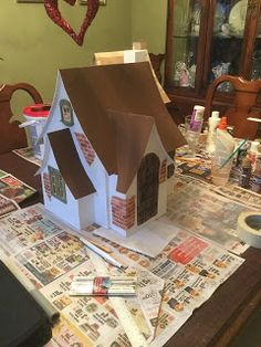 AC Construction: The English Cottage English Cottage Style, English Cottages, Cardboard Crafts, Cardboard Houses, Fairy Tree Houses, Rustic Stairs, House Lamp, Cute House, Modern Gardens