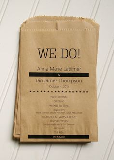 Paper Bag Programs Custom Flat Kraft Paper Bag by AnnaLouAvenue Rustic Wedding Seating, Rustic Wedding Cake Toppers, Rustic Wedding Centerpieces, Wedding Ceremony Decorations, Decor Wedding, Wedding Ideas, Wedding Paper, Wedding Cards, Wedding Invitations