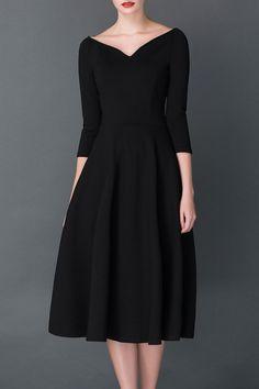 Cys Black A Line Midi Hepburn Dress   Midi Dresses at DEZZAL #mididress