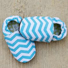 36 months Organic Baby Blue Chevron Stripes Shoes by GrowingUpWild, $22.00