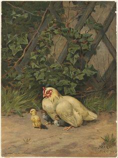 White Hen with Three Chicks, Prang
