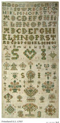 1707 Dutch embroidery sampler by S.I. in Groningen, The Netherlands.  Category: Merk- en stoplappen