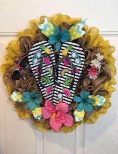Burlap Flip Flop Wreath | eBay