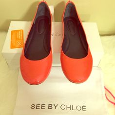 *SALE!* See by Chloe Ballet Flats 39. NWT Cute ballet flats!! Size 39 but fit more like a 38-38.5. Have a unique decorative zipper detail on the back. They come with box and dustbag. Minor wrinkling on the sides of the shoes but not very noticeable when worn. Coral in color. *Would fit a size 8 best. I'm an 8.5 and these fit snug. See by Chloe Shoes Flats & Loafers