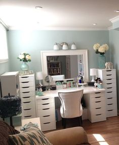 makeup vanity table ikea: diy vanity mirror ideas to make Furniture, Vanity, Ikea Makeup Vanity, Home Decor, Bedroom Furniture, Makeup Vanity With Drawers, Small Vanity, Furniture Vanity, Bedroom Vanity Set